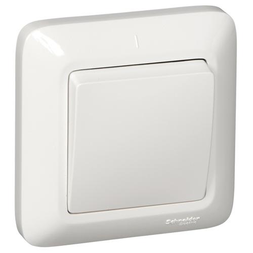 ПРИМА Выключатель 1-клавишный скрытой установки, 6А, белый