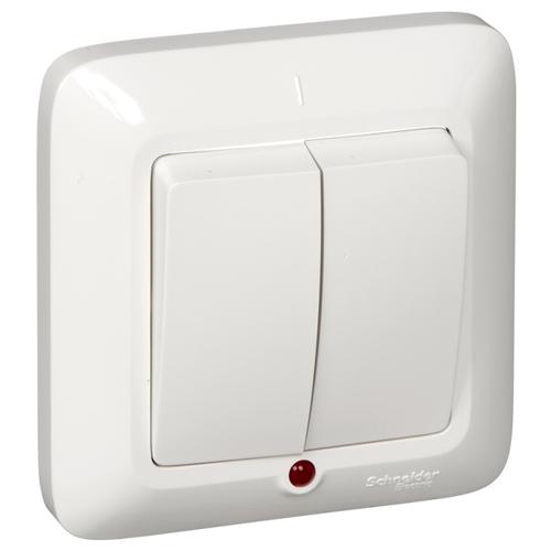 ПРИМА Выключатель 2-клавишный скрытой установки с подсветкой, 6А, белый