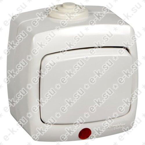 Рондо Переключатель 1-клавишный с индикатором открытой установки, 10А, IP44, белый
