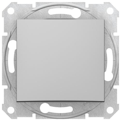 Sedna Выключатель 1-клавишный в рамку алюминий