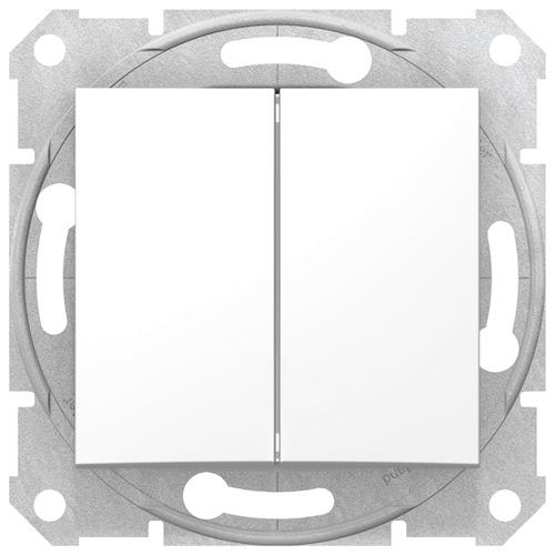 Sedna Выключатель 2-клавишный в рамку белый сх.5