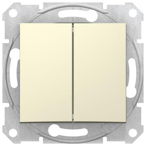 Sedna Выключатель 2-клавишный в рамку бежевый сх.5