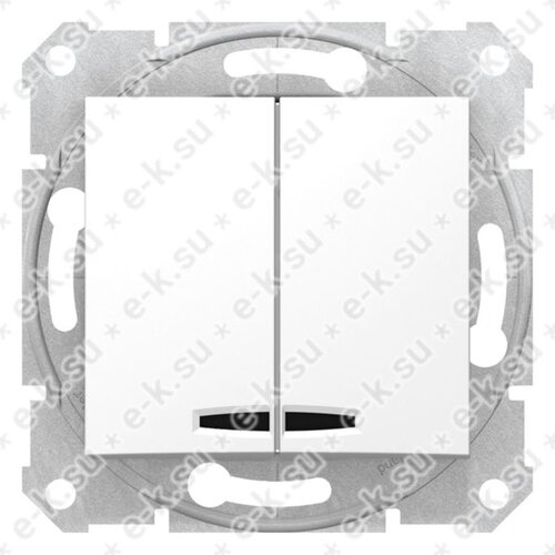Sedna Выключатель 2-клавишный с подсветкой в рамку белый сх.5