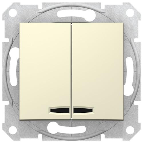 Sedna Выключатель 2-клавишный с подсветкой в рамку бежевый