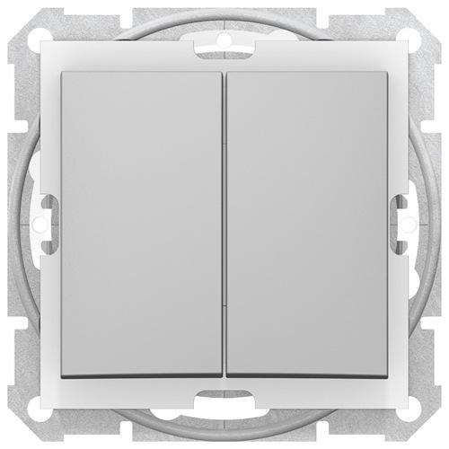 Sedna Выключатель 2-клавишный IP44 алюминий