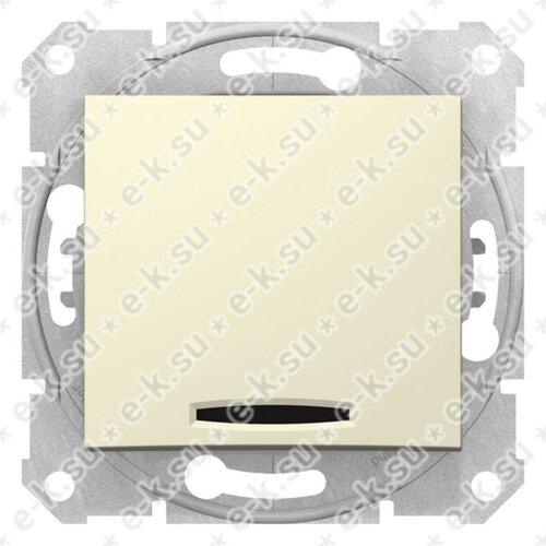 Sedna Выключатель 1-клавишный с подсветкой в рамку бежевый