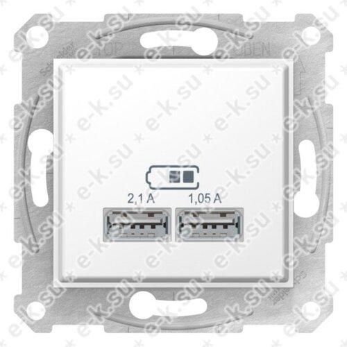 Sedna USB Механизм зарядного устройства 2,1А (2x1,05А), белый