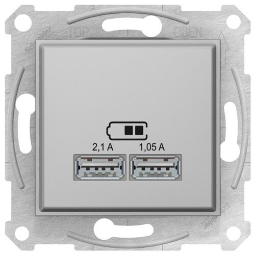 Sedna USB Механизм зарядного устройства 2,1А (2x1,05А), алюминий