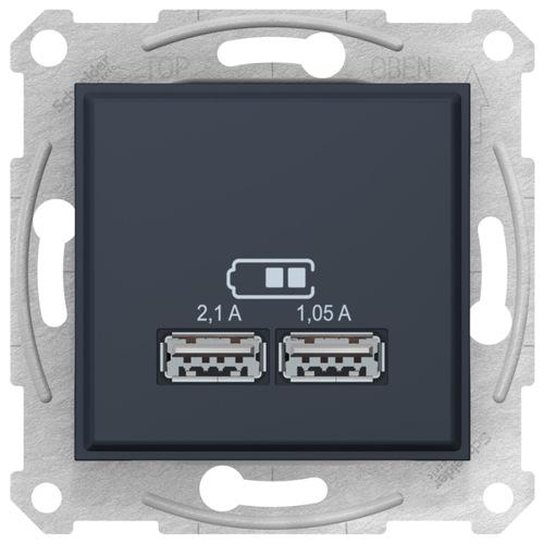 Sedna USB Механизм зарядного устройства 2,1А (2x1,05А), графит