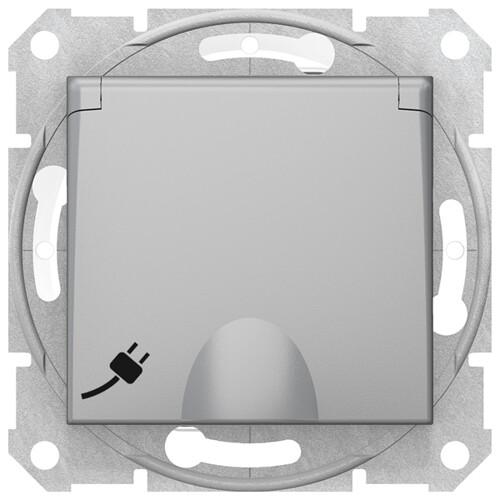 Sedna Розетка с заземлением, со шторками с крышкой, IP44, алюминий