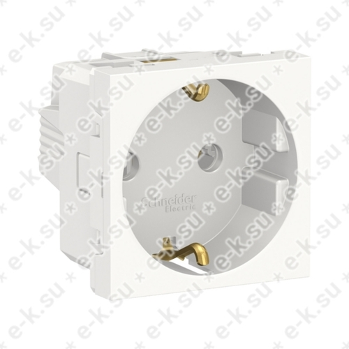 Unica Modular Розетка с заземлением, без шторок, винтовые зажимы, 16А, 250В, 2 модуля белый