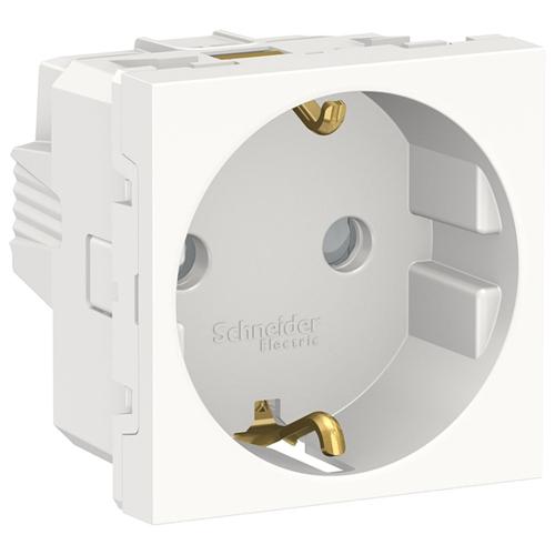 Unica Modular Розетка с заземлением, со шторками, винтовые зажимы, 16А, 250В, 2 модуля белый