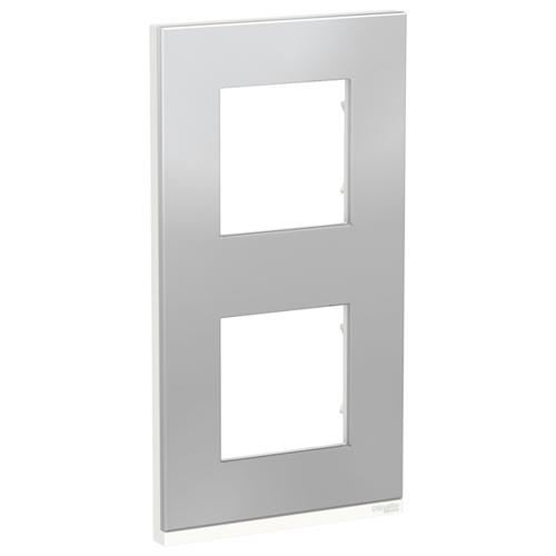 Unica Pure Рамка 2-постовая, вертикальная, алюминий матовый/белый