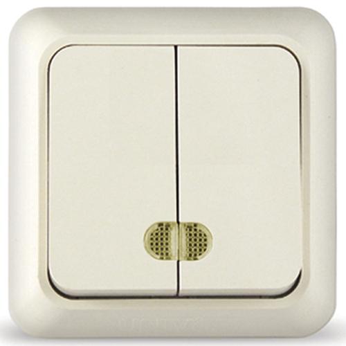 Олимп Выключатель двухклавишный наружный 10А с индикацией бежевый