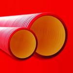 Труба двустенная для электропроводки и кабельных линий жесткая кольцевая жесткость диаметр 160 мм красная (160916-6k)