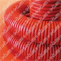 Труба гофрированная двустенная 63 мм с протяжкой с муфтой красная (50м) (121963)