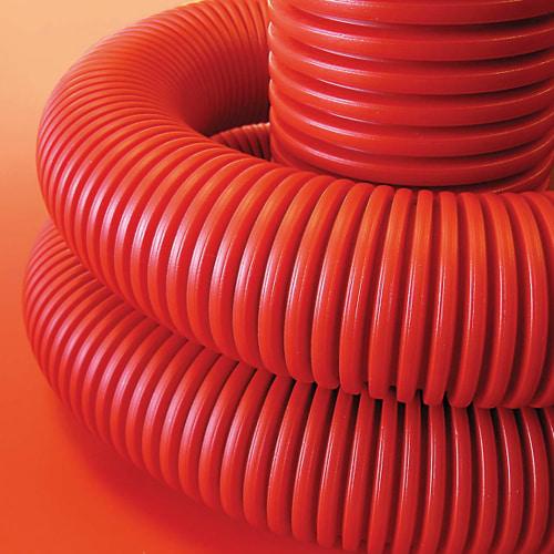 Труба гибкая двустенная 90мм с протяжкой с муфтой красная (50м) бухта (121990)