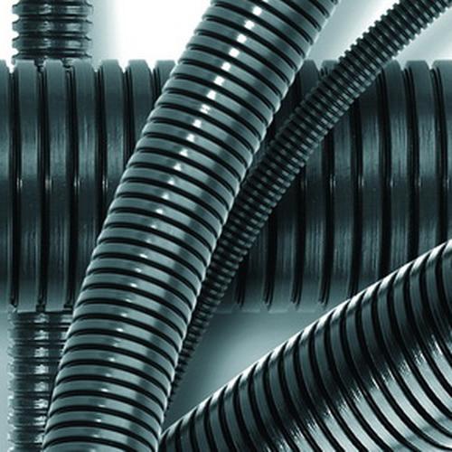 Труба гофрированная ПА 6 (полиамид 6) PA6V0 50мм без протяжки темно-серая (15м) (80050)