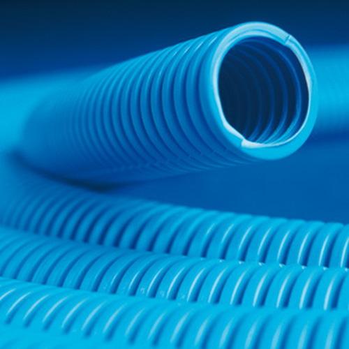 Труба гофрированная ППЛ 25 мм с протяжкой легкая синяя (50м) (11925)
