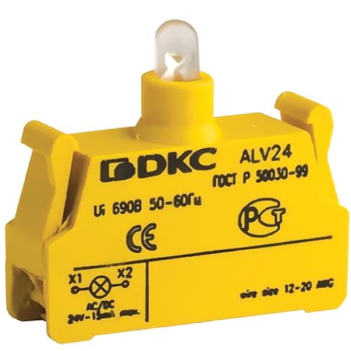 Блок контактный с клеммным безвинтовым зажимом со светодиодом на 24В (ALV24)